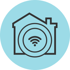 A Wi-Fi icon covering an entire house