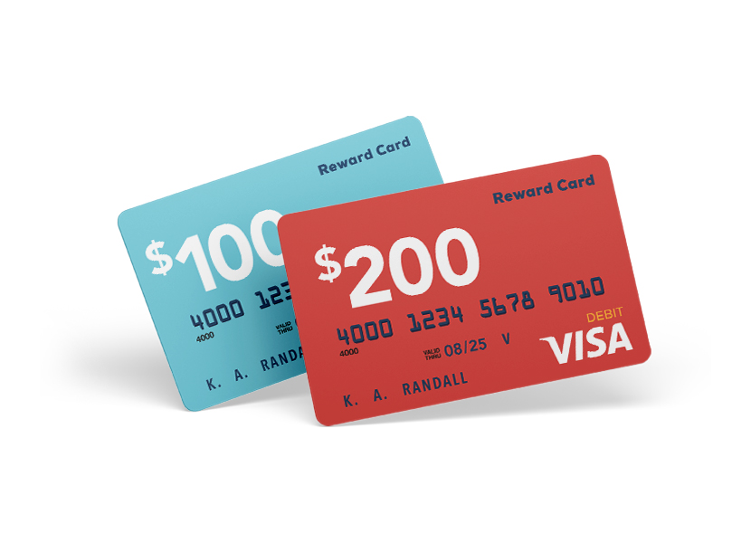 $100 and $200 Visa gift cards